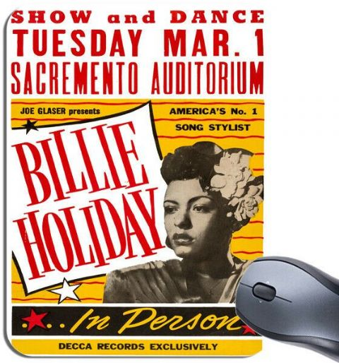 Billie Holiday Sacramento California Concert Poster Mouse Mat Jazz Fan Mouse Pad